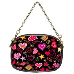 Love Hearts Sweet Vector Chain Purses (one Side)  by Simbadda