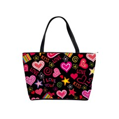 Love Hearts Sweet Vector Shoulder Handbags by Simbadda