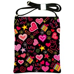 Love Hearts Sweet Vector Shoulder Sling Bags by Simbadda
