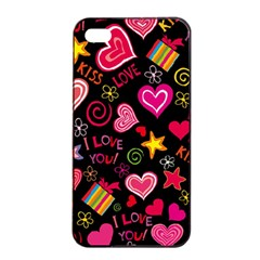 Love Hearts Sweet Vector Apple Iphone 4/4s Seamless Case (black) by Simbadda