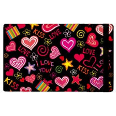 Love Hearts Sweet Vector Apple Ipad 3/4 Flip Case by Simbadda
