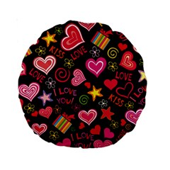 Love Hearts Sweet Vector Standard 15  Premium Round Cushions