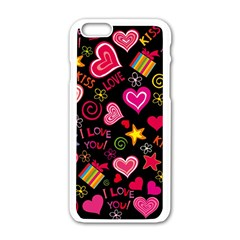 Love Hearts Sweet Vector Apple Iphone 6/6s White Enamel Case