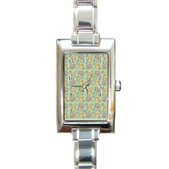 Cute Hamster Pattern Rectangle Italian Charm Watch by Simbadda
