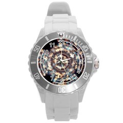 Science Fiction Background Fantasy Round Plastic Sport Watch (l) by Simbadda