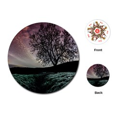 Sky Landscape Nature Clouds Playing Cards (round)