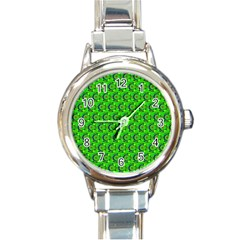 Green Abstract Art Circles Swirls Stars Round Italian Charm Watch by Simbadda