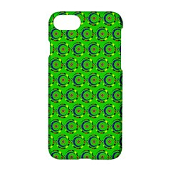 Green Abstract Art Circles Swirls Stars Apple Iphone 7 Hardshell Case by Simbadda