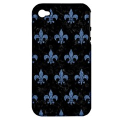 Royal1 Black Marble & Blue Denim (r) Apple Iphone 4/4s Hardshell Case (pc+silicone) by trendistuff