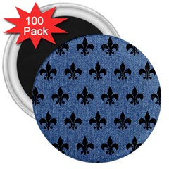 Royal1 Black Marble & Blue Denim 3  Magnet (100 Pack) by trendistuff