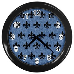 Royal1 Black Marble & Blue Denim Wall Clock (black) by trendistuff