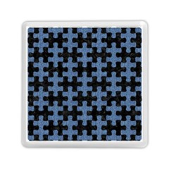 Puzzle1 Black Marble & Blue Denim Memory Card Reader (square) by trendistuff