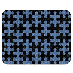 Puzzle1 Black Marble & Blue Denim Double Sided Flano Blanket (medium) by trendistuff