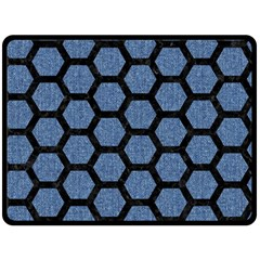 Hexagon2 Black Marble & Blue Denim (r) Fleece Blanket (large)