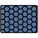 HEXAGON2 BLACK MARBLE & BLUE DENIM (R) Fleece Blanket (Large) 80 x60  Blanket Front