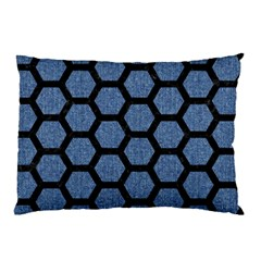 Hexagon2 Black Marble & Blue Denim (r) Pillow Case (two Sides) by trendistuff