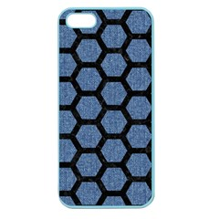 Hexagon2 Black Marble & Blue Denim (r) Apple Seamless Iphone 5 Case (color) by trendistuff