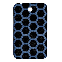 Hexagon2 Black Marble & Blue Denim Samsung Galaxy Tab 3 (7 ) P3200 Hardshell Case  by trendistuff