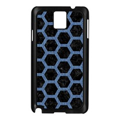Hexagon2 Black Marble & Blue Denim Samsung Galaxy Note 3 N9005 Case (black) by trendistuff