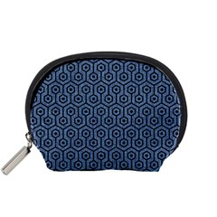 Hexagon1 Black Marble & Blue Denim (r) Accessory Pouch (small) by trendistuff