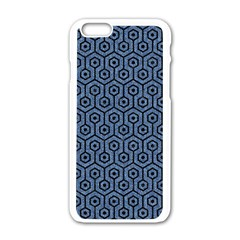 Hexagon1 Black Marble & Blue Denim (r) Apple Iphone 6/6s White Enamel Case by trendistuff