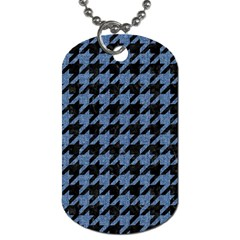 Houndstooth2 Black Marble & Blue Denim Dog Tag (two Sides) by trendistuff