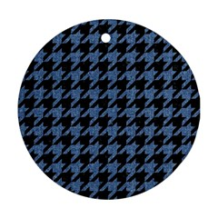 Houndstooth2 Black Marble & Blue Denim Round Ornament (two Sides) by trendistuff