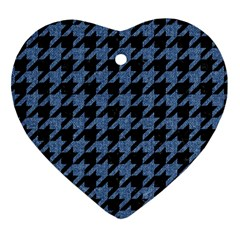 Houndstooth2 Black Marble & Blue Denim Heart Ornament (two Sides) by trendistuff