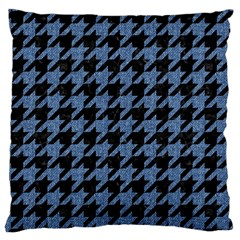 Houndstooth2 Black Marble & Blue Denim Large Cushion Case (two Sides) by trendistuff