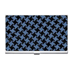 Houndstooth1 Black Marble & Blue Denim Business Card Holder by trendistuff