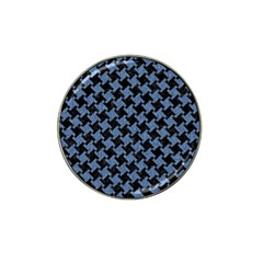 Houndstooth1 Black Marble & Blue Denim Hat Clip Ball Marker by trendistuff
