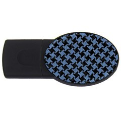 Houndstooth1 Black Marble & Blue Denim Usb Flash Drive Oval (4 Gb) by trendistuff