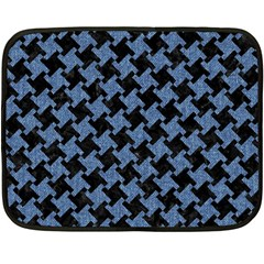 Houndstooth1 Black Marble & Blue Denim Fleece Blanket (mini) by trendistuff