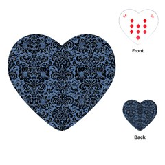 Damask2 Black Marble & Blue Denim (r) Playing Cards (heart) by trendistuff