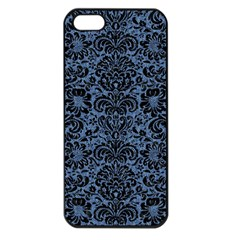 Damask2 Black Marble & Blue Denim (r) Apple Iphone 5 Seamless Case (black) by trendistuff