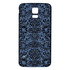 Damask2 Black Marble & Blue Denim (r) Samsung Galaxy S5 Back Case (white) by trendistuff
