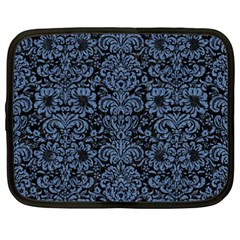 Damask2 Black Marble & Blue Denim Netbook Case (xxl) by trendistuff