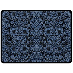 Damask2 Black Marble & Blue Denim Double Sided Fleece Blanket (large) by trendistuff