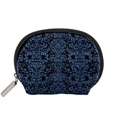 Damask2 Black Marble & Blue Denim Accessory Pouch (small) by trendistuff