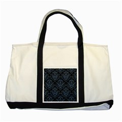 Damask1 Black Marble & Blue Denim Two Tone Tote Bag by trendistuff