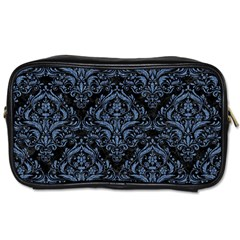Damask1 Black Marble & Blue Denim Toiletries Bag (one Side) by trendistuff