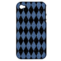 Diamond1 Black Marble & Blue Denim Apple Iphone 4/4s Hardshell Case (pc+silicone) by trendistuff