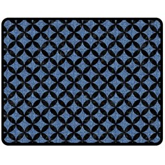 Circles3 Black Marble & Blue Denim (r) Fleece Blanket (medium) by trendistuff