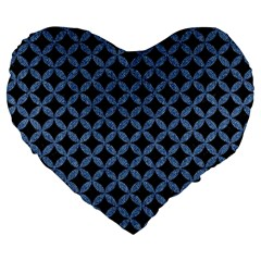 Circles3 Black Marble & Blue Denim Large 19  Premium Flano Heart Shape Cushion by trendistuff