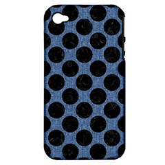 Circles2 Black Marble & Blue Denim (r) Apple Iphone 4/4s Hardshell Case (pc+silicone) by trendistuff