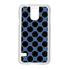 Circles2 Black Marble & Blue Denim (r) Samsung Galaxy S5 Case (white) by trendistuff