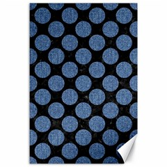 Circles2 Black Marble & Blue Denim Canvas 24  X 36  by trendistuff