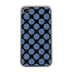 Circles2 Black Marble & Blue Denim Apple Iphone 4 Case (clear) by trendistuff