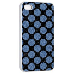 Circles2 Black Marble & Blue Denim Apple Iphone 4/4s Seamless Case (white) by trendistuff