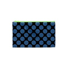 Circles2 Black Marble & Blue Denim Cosmetic Bag (xs)